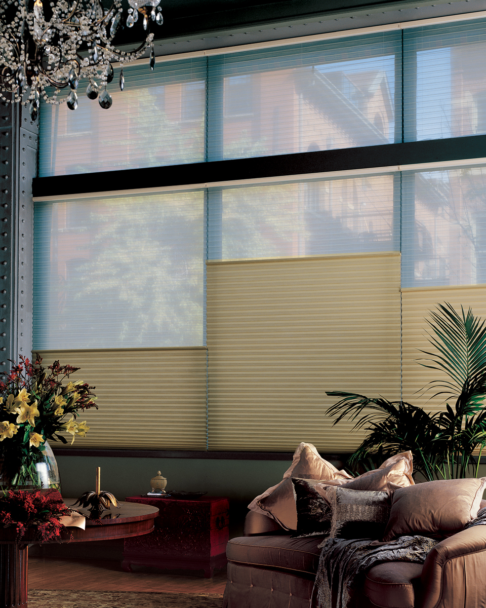 Affordable blinds and design lincoln nebraska duette for Hunter douglas motorized shades